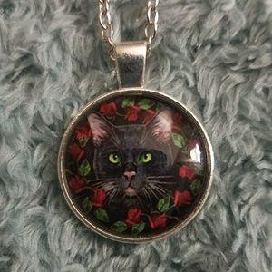 Black cat cabochon necklace